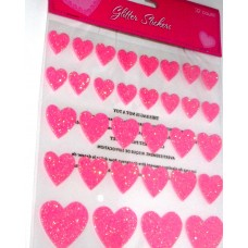 Heart Shaded 32 pcs pink glitter stickers, for gift set
