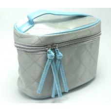 Sliver Blue Trim Vanity Makeup  Bag Case